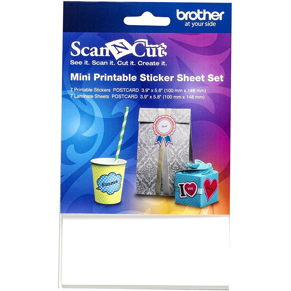 Brother Mini Printable Sticker Sheet Set - Includes 7 Printable Sticker Sheets and 7 Laminate Sheets (Size 3.9in x 5.8in)