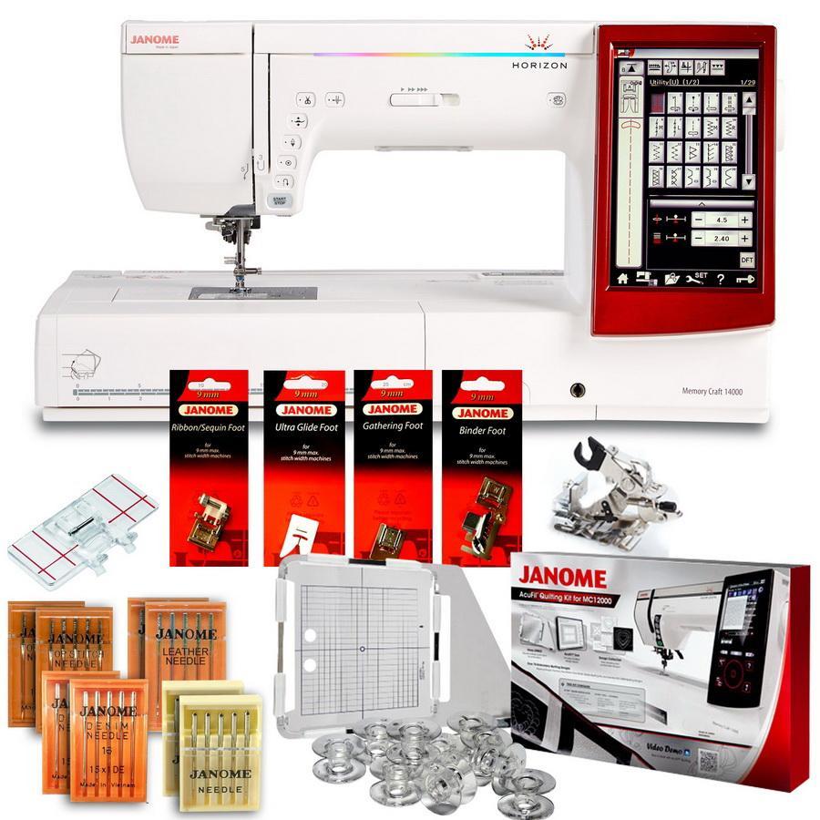 Janome Horizon Memory Craft 14000 Sewing, Embroidery, & Quilting Machine BONUS PACKAGE