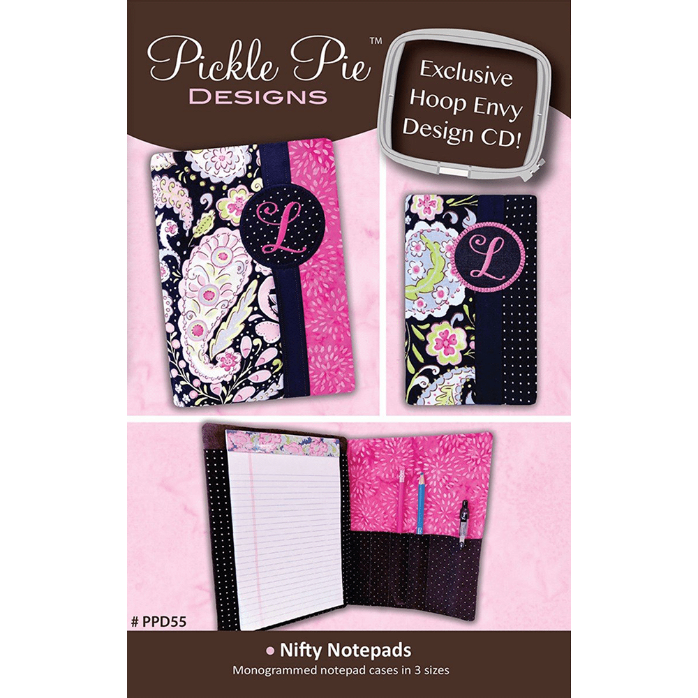 Pickle Pie Designs Nifty Notepads In the hoop Embroidery Design CD (PPD55)