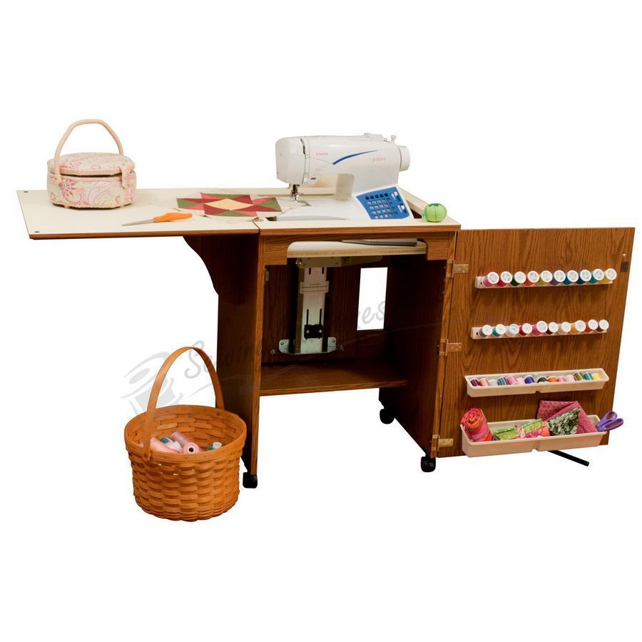 Arrow 98500 Sewnatra Compact Sewing Cabinet - Oak Finish