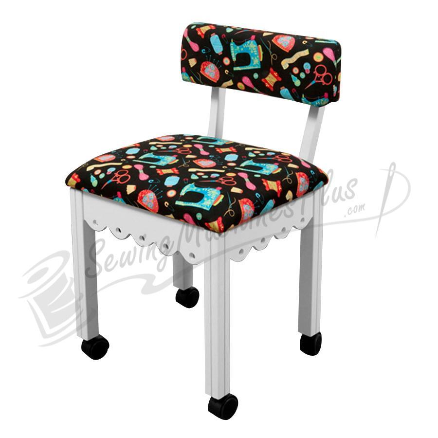 Arrow Sewing Chair Black Riley Blake fabric on White 7011B
