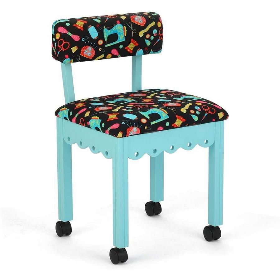 Arrow Wooden Sewing Chair - Blue - Black Notions Fabric 7019B