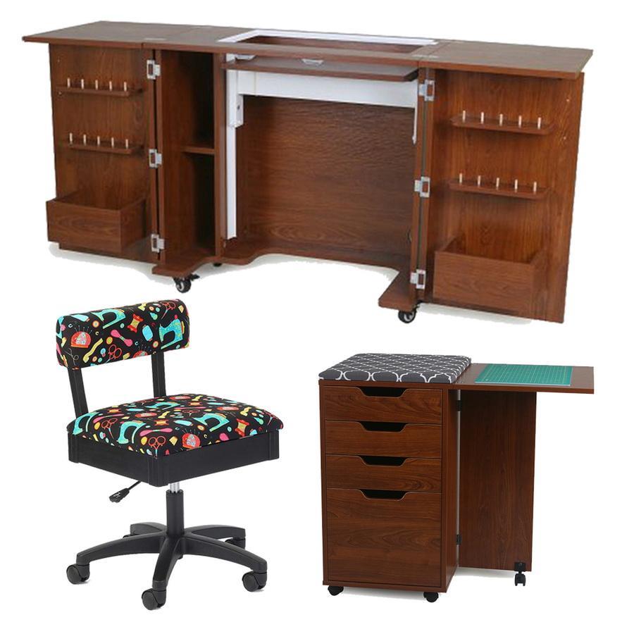 Kangaroo Kabinets Bandicoot Cabinet Teak b8205 Studio Set With Kiwi Storage Cabinet And Arrow Hydraulic Sewing Chair