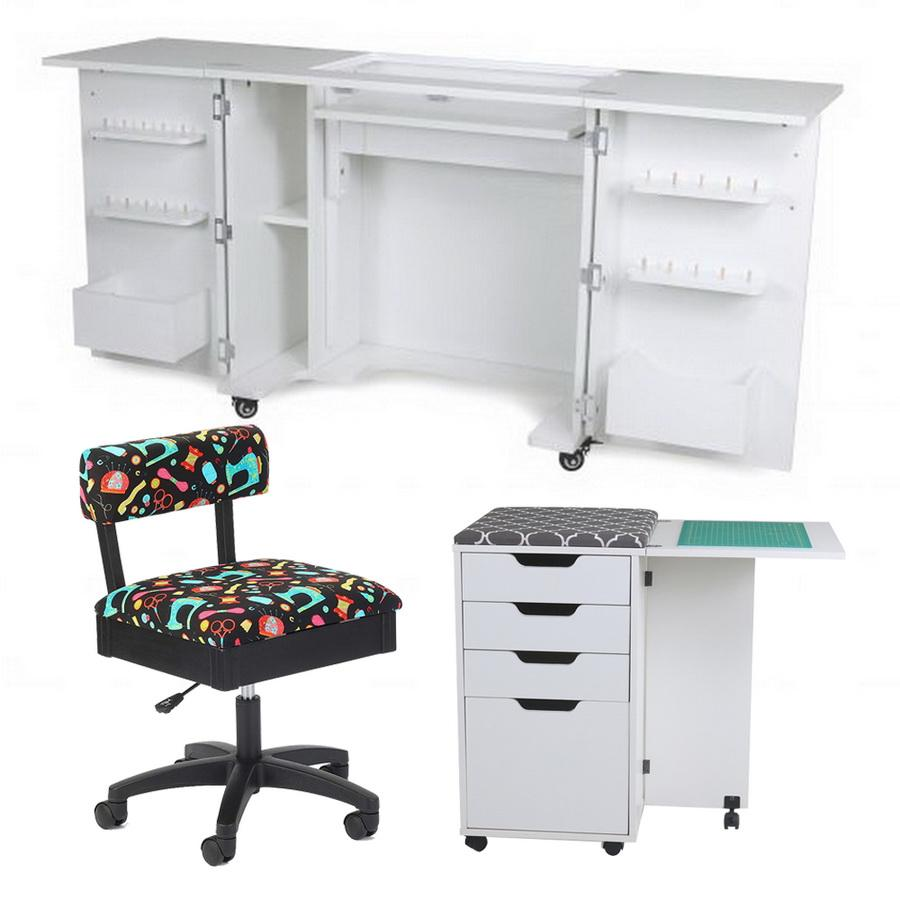 Kangaroo Kabinets Bandicoot Cabinet White Ash b8211 Studio Set With Kiwi Storage Cabinet And Arrow Hydraulic Sewing Chair