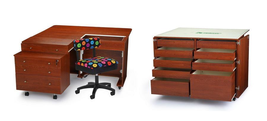 Kangaroo Kabinets Studio Combo TEAK Kangaroo & Joey II and Dingo II Sewing Cabinets (KS-TEAK)