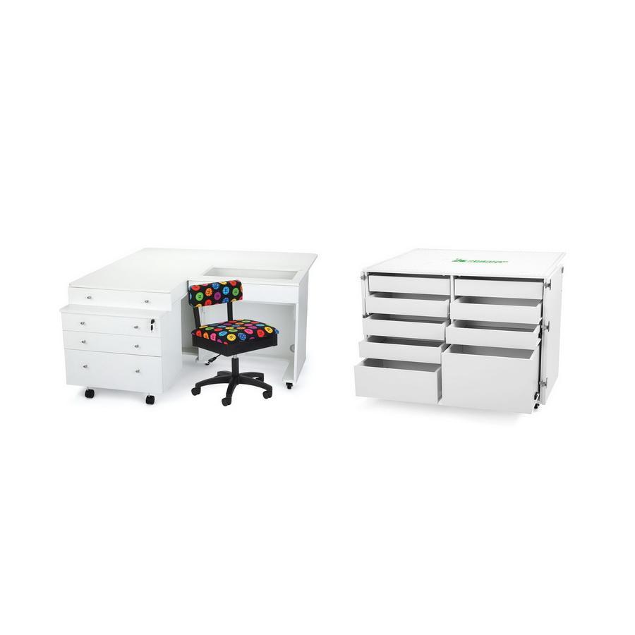 Kangaroo Kabinets Studio Combo WHITE Kangaroo & Joey and Dingo II Sewing Cabinets (KS-WHT)