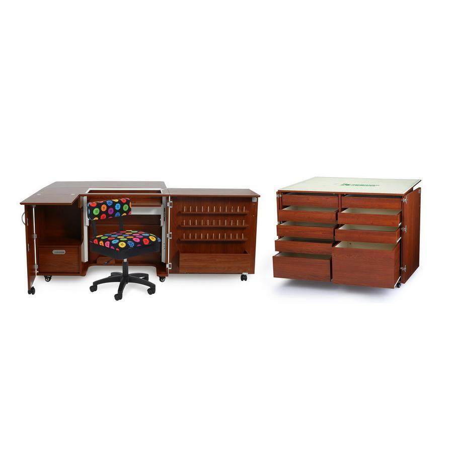 Kangaroo Kabinets Wallaby II Studio Wallaby Air Lift and Dingo II Sewing Cabinet Set TEAK (WS-TEAK)