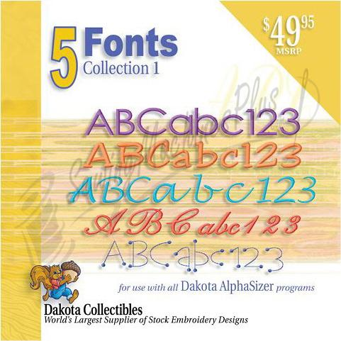 Dakota Collectibles 5 Font Collection 1  Embroidery Designs - 970235