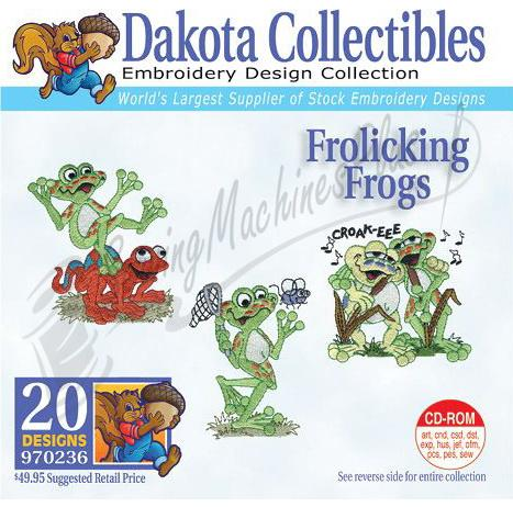 Dakota Collectibles Frolicking Frogs Embroidery Designs - 970236