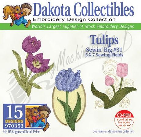 Dakota Collectibles Tulips Embroidery Designs - 970353