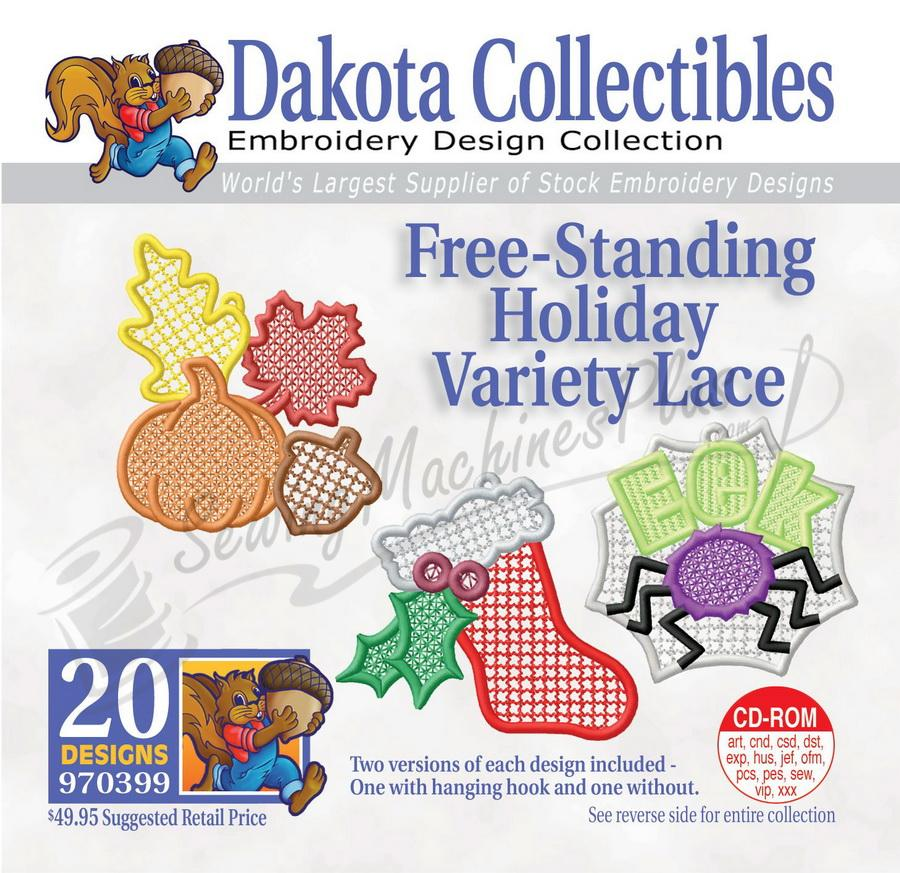 Dakota Collectibles Free-Standing Holiday Variety Lace Embroidery Designs - 970399