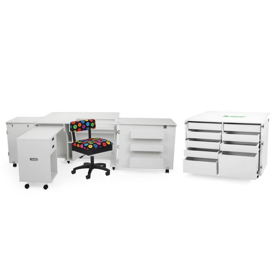 Kangaroo Kabinets Aussie Studio and Dingo II WHITE Sewing Cabinets with Air Lift (AS-WHT)