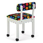 Arrow Sewing Chair with Button Fabric on White 8011